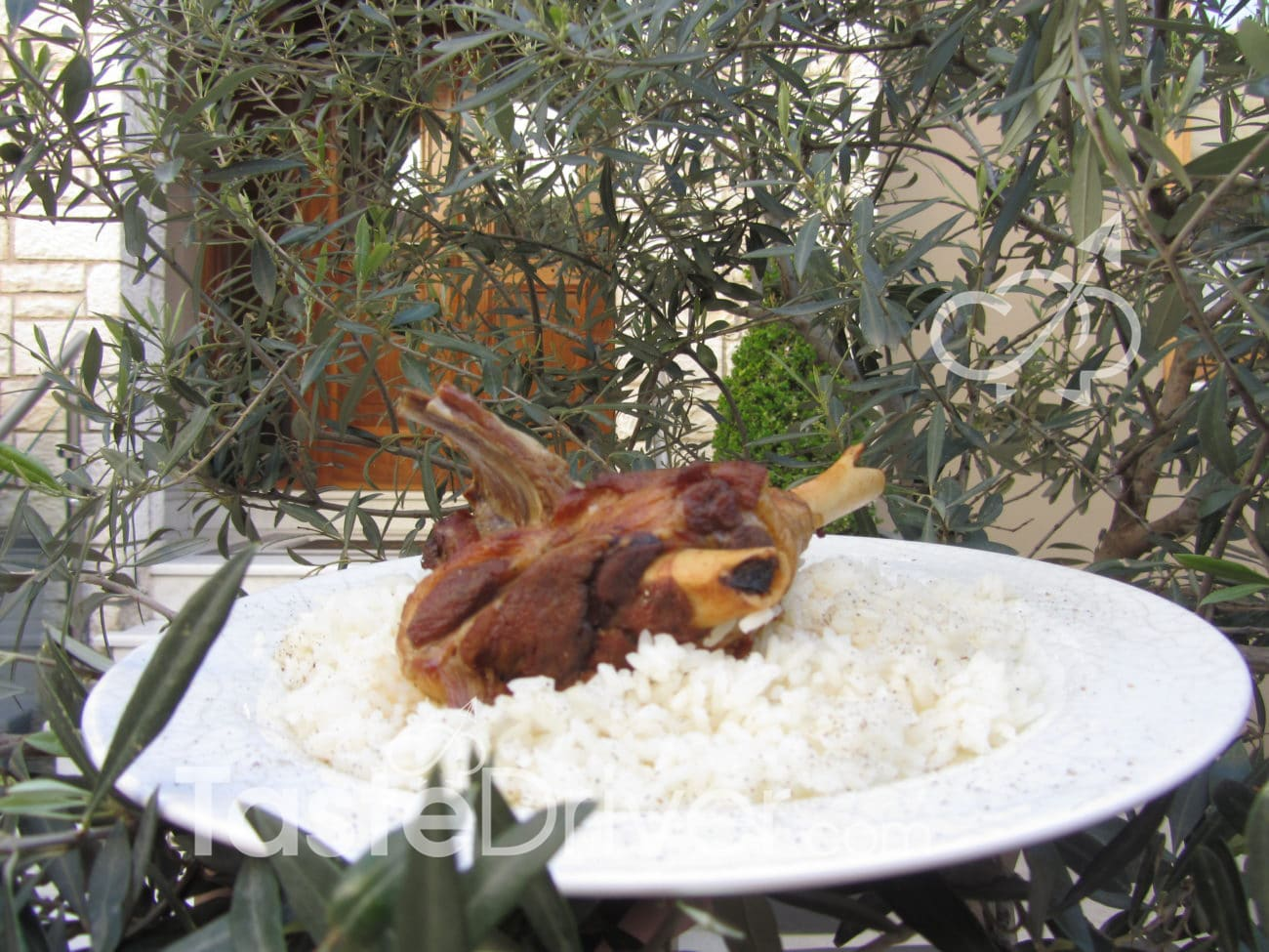 Lamb in a clay casserole with rice