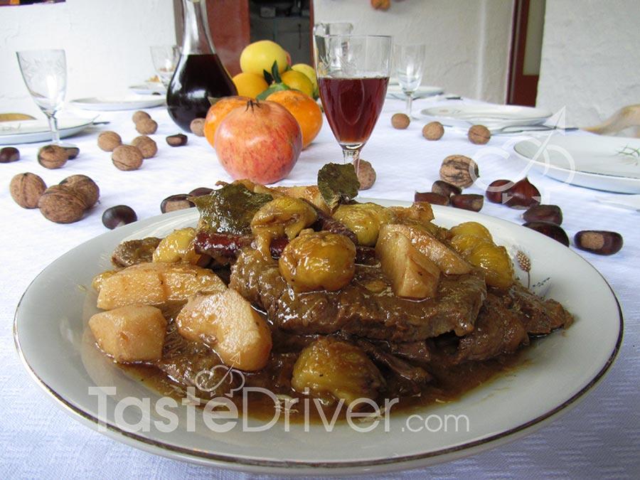 Μοσχαράκι με κάστανα, πράσινο μήλο, μέλι και πετιμέζι