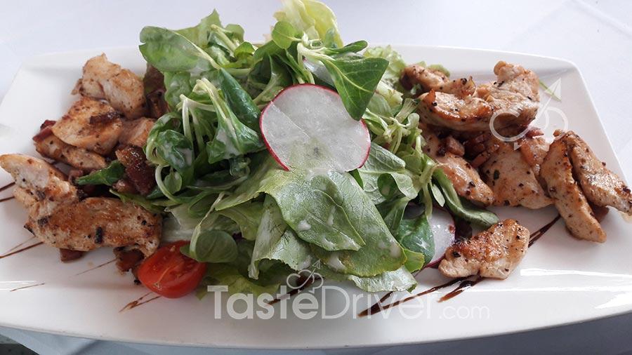 Chicken salad with valerian and yoghurt sauce