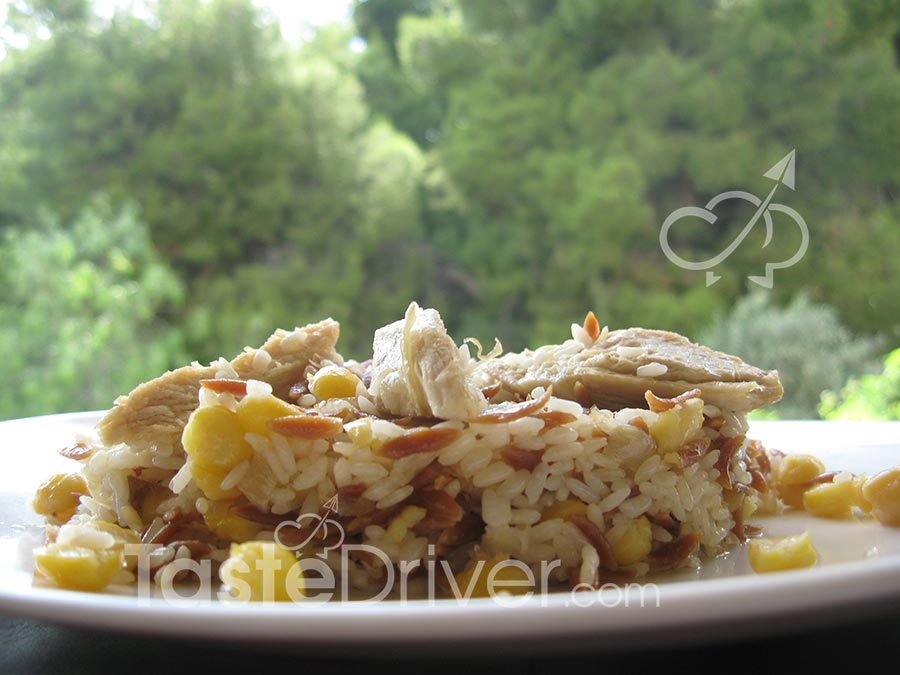 Rhodes – Pilaf with chicken and chickpeas