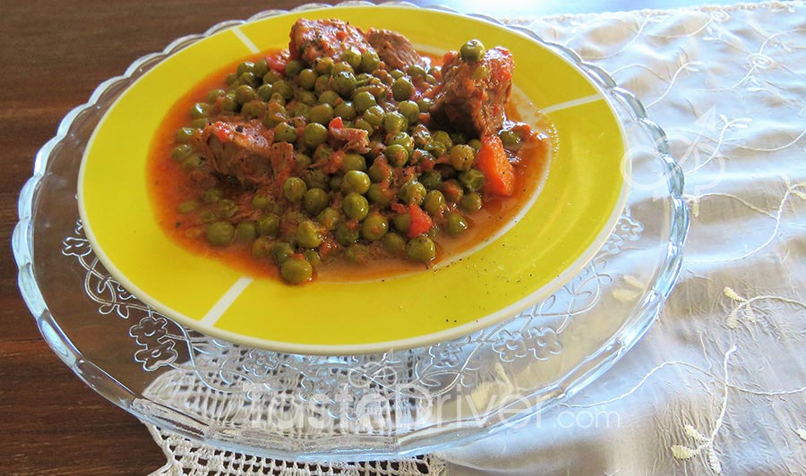 Slow cooked veal with peas