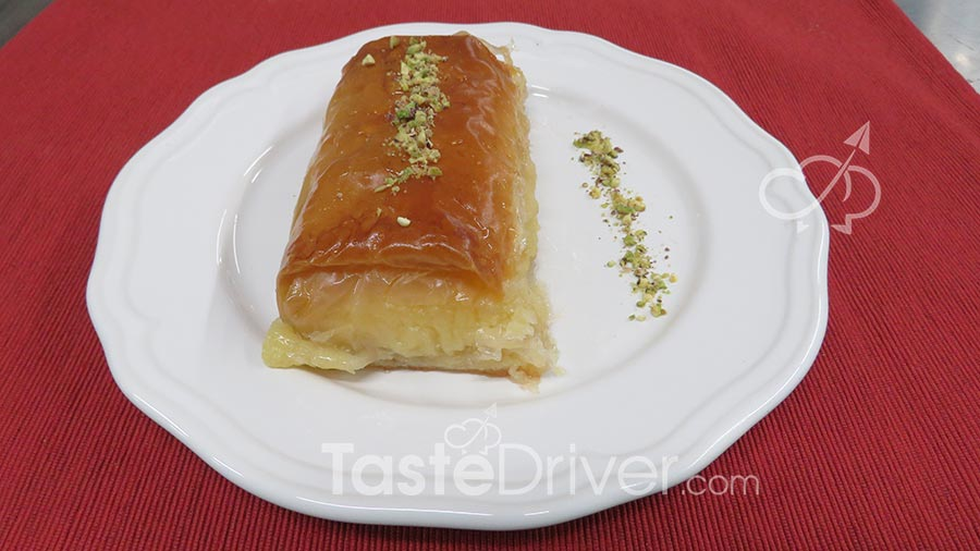 Traditional Galaktoboureko (custard filled pastry)