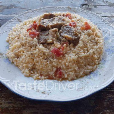 μοσχαράκι, ρύζι, φούρνος