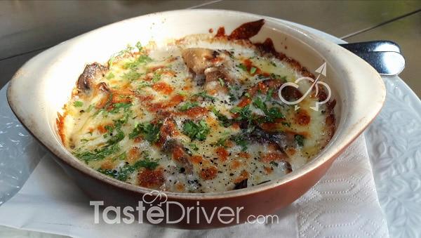 Μανιτάρια πλευρώτους σαγανάκι με τυριά