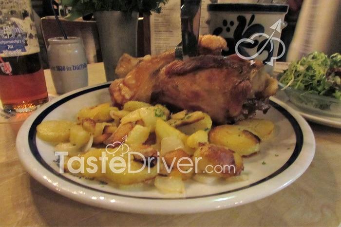 German pork shank and potatoes