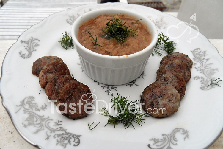 Eggplant mousse with sausages