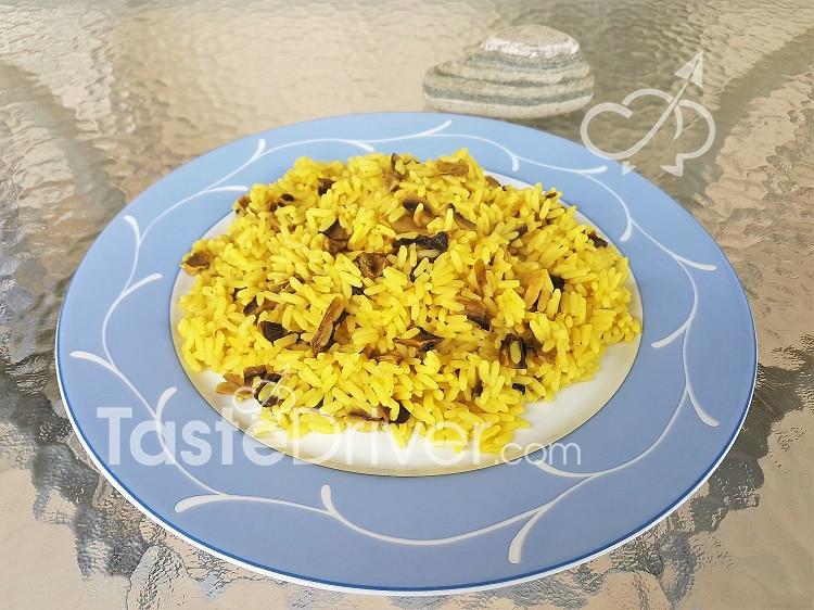 Ρύζι με μανιτάρια και κουρκουμά