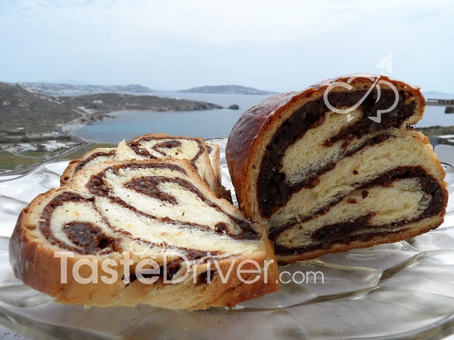 Tsoureki (sweet bread) stuffed with chocolate and nuts