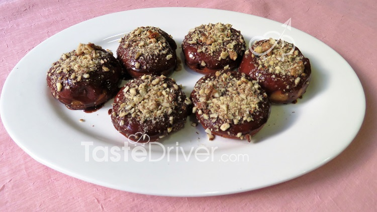 Krapfen with chocolate and nuts