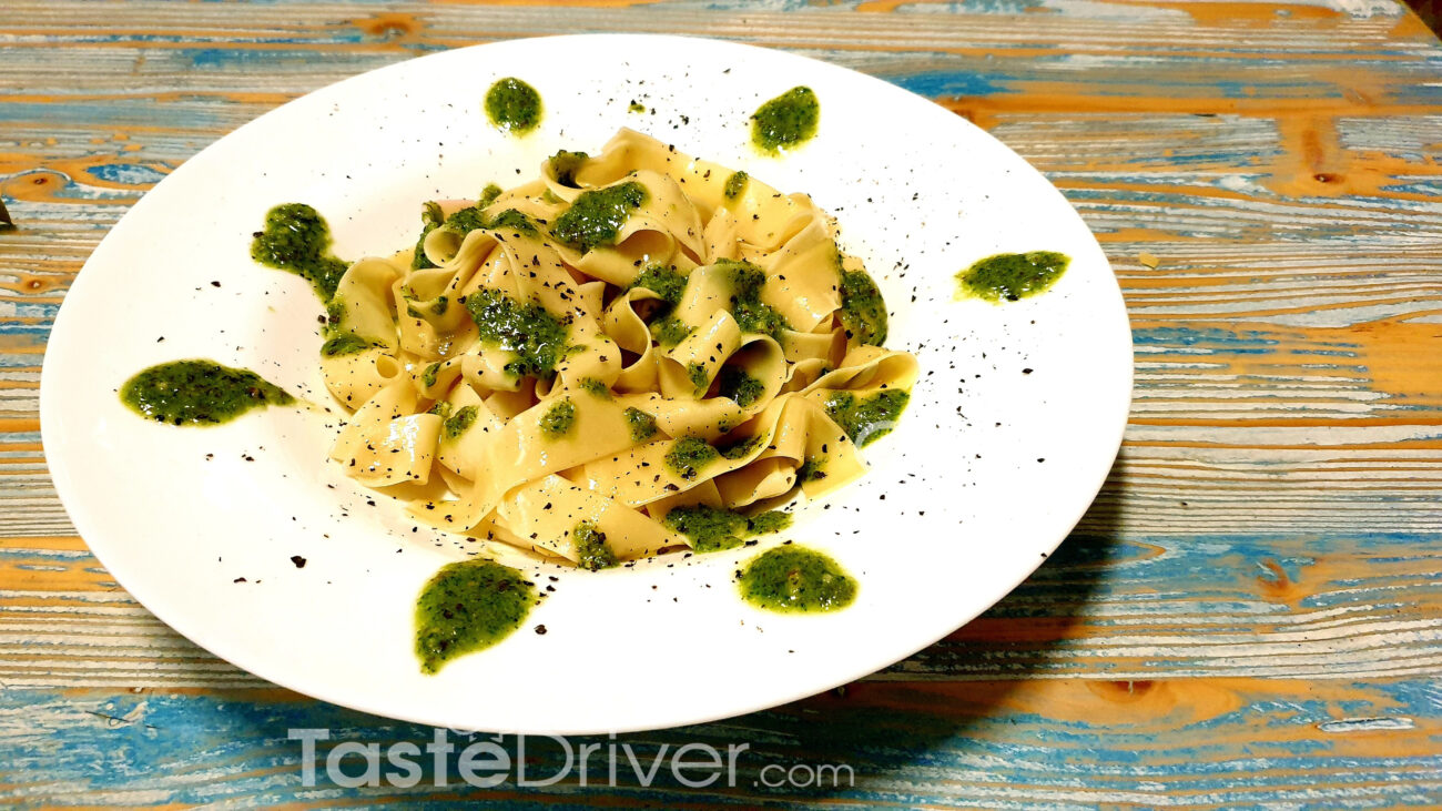 Pappardelle with basil pesto and avocado