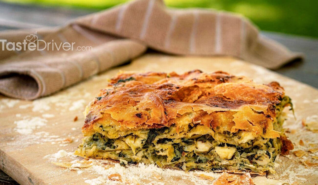 Spinach cheese pie with handmade sheet
